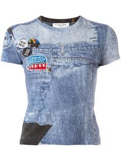 футболка с джинсовым принтом Christian Dior Vintage