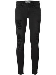 узкие рваные джинсы Frame Denim