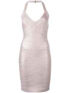 обтягивающее платье с вырезом-хальтер Hervé Léger