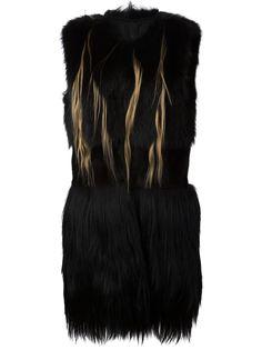 длинный меховой жилет Vera Wang