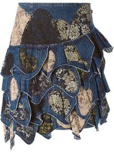 джинсовая юбка с кружевными деталями  Christian Lacroix Vintage