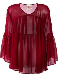 плиссированная блузка с V-образным вырезом Erika Cavallini