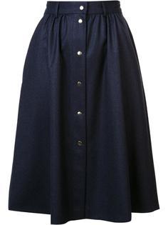 юбка А-образного силуэта в складку Maison Kitsuné