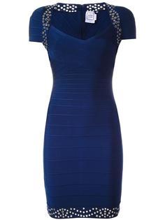 приталенное платье с заклепками Hervé Léger