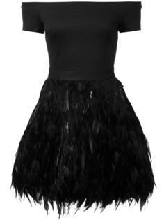 платье с юбкой из перьев Alice+Olivia