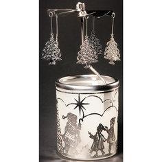 Новогодний декоративный подсвечник из черного окрашенного металла (6,5*14,5 см) Феникс Презент