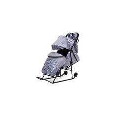 Санки-коляска Зимняя сказка 2В Авто, черная рама, ABC Academy, серый/Снежинки