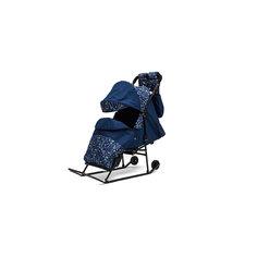 Санки-коляска Зимняя сказка 2В Авто, черная рама, ABC Academy, синий/Зоопарк