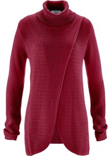 Пуловер с высоким воротом и эффектом запаха (темно-синий) Bonprix