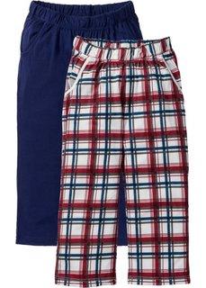 Трикотажные брюки-капри (2 шт.) (темно-синий/серый с рисунком) Bonprix