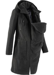 Мода для беременных: пальто с защитной вставкой для малыша (антрацитовый меланж) Bonprix