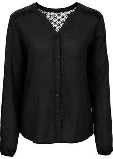 Блуза с вязаным кружевом (оливковый) Bonprix