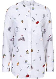 Блузка (белый/черный с рисунком) Bonprix