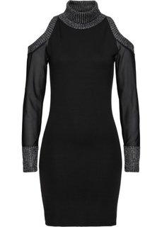 Трикотажное платье с прозрачными рукавами и вырезами в области плеч (черный) Bonprix