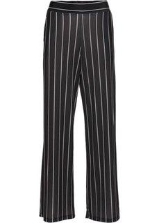 Широкие трикотажные брюки (черный/белый в полоску) Bonprix