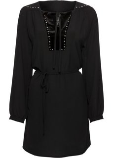 Платье с бархатной отделкой и заклепками (черный) Bonprix