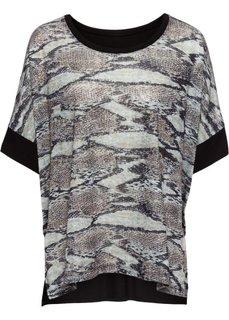 Футболка-блузка с блестящими деталями (черный) Bonprix