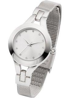 Металлические наручные часы с сетчатым браслетом (розово-золотистый) Bonprix