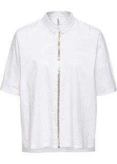 Широкая короткая блузка с блестящими деталями (оливковый/золотистый) Bonprix