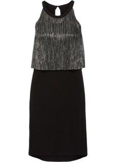 Трикотажное платье с люрексом (черный/серебристый) Bonprix