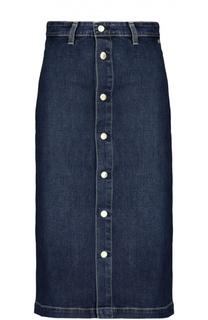 Джинсовая юбка прямого кроя на заклепках Ag