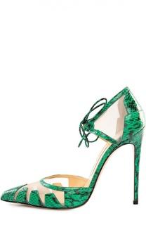 Кожаные туфли Lana с текстильными вставками Bionda Castana