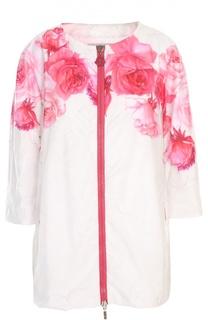 Пальто прямого кроя с цветочным принтом Moncler