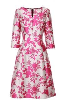Шелковое приталенное платье с цветочным принтом Oscar de la Renta