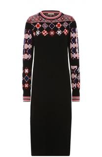Вязаное платье с длинным рукавом и ярким принтом Emilio Pucci