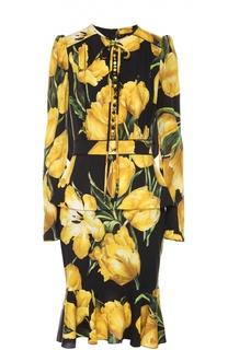 Шелковое платье с цветочным принтом и юбкой годе Dolce & Gabbana