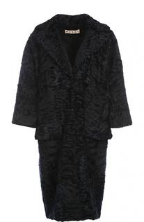 Меховое пальто с укороченным рукавом и широкими лацканами Marni