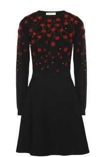 Приталенное платье с контрастной вышивкой и длинным рукавом Valentino