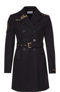 Пальто прямого кроя с поясом и контрастной отделкой REDVALENTINO