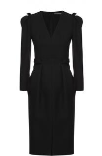 Приталенное платье с V-образным вырезом и рукавом-фонарик Alexander McQueen