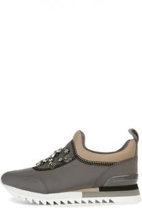 Текстильные кроссовки с декором Tory Burch