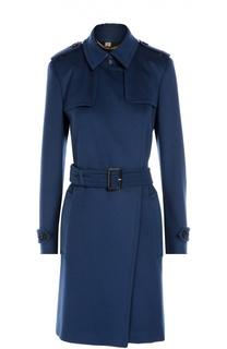 Шерстяное пальто с поясом и карманами Burberry