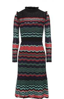 Приталенное платье с длинным рукавом и юбкой годе M Missoni