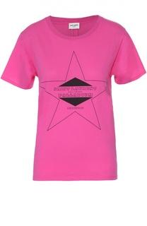 Хлопковая футболка прямого кроя с контрастным принтом Saint Laurent