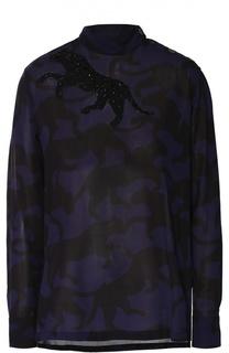 Блуза прямого кроя со звериным принтом и вышивкой бисером Dries Van Noten