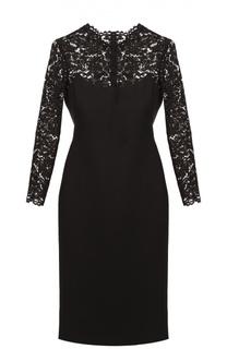 Приталенное платье с кружевным лифом и длинным рукавом Valentino