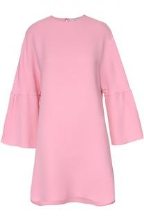 Шелковое платье асимметричного кроя с широким рукавом Valentino