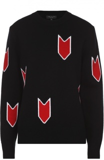 Шерстяной пуловер свободного кроя с контрастным принтом Rag&Bone Rag&Bone