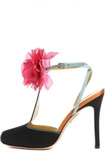 Шелковые туфли Amphora с аппликацией Charlotte Olympia
