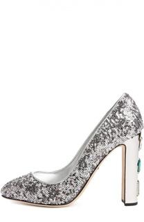 Туфли Vally с пайетками Dolce & Gabbana