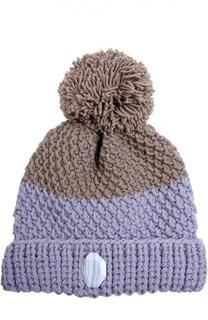 Шерстяная шапка крупной вязки с помпоном 7II