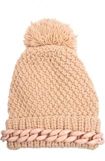 Шерстяная шапка с декоративной цепью и помпоном 7II