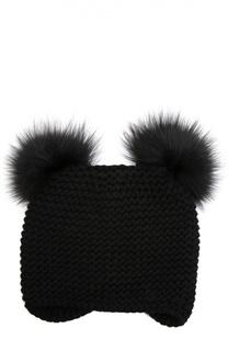Вязаная шапка из кашемира с меховыми помпонами Inverni