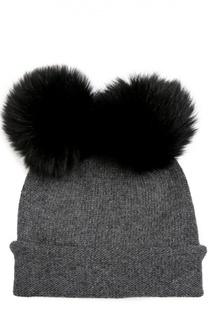 Кашемировая шапка с помпонами из меха лисы Balmuir