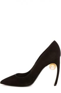 Замшевые туфли Maeva Pearl на фигурном каблуке Nicholas Kirkwood