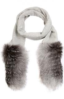 Кашемировый шарф с меховой отделкой Inverni